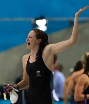 Australia's Cate Campbell looks upset as she and her sister Bronte miss out on the 50-metre freestyle finals in London.