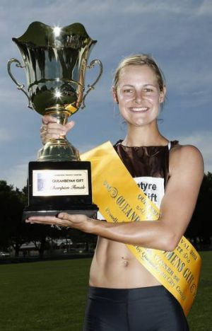 Emma Rynne with the trophy after winning the Queanbeyan Women's Gift.