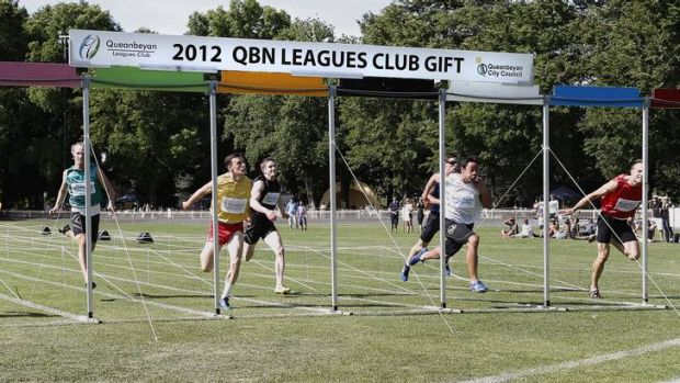 The final of the Queanbeyan Gift that was won by Dean Scarff, second from right in white.