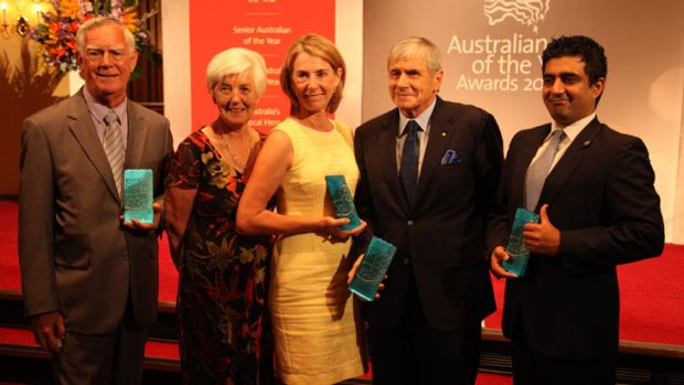 WA Award recipients together: Barry Young, Lorraine Young, Caoline de Mori, Kerry Stokes, Akram Azimi