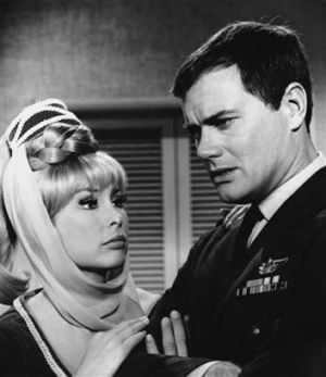 Barbara Eden, left, and Larry Hagman in a scene from the television show <i>I Dream of Jeannie</i> in 1967.  Photo: AP/NBC.