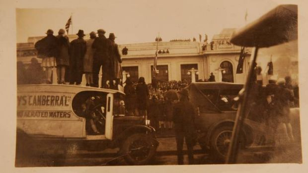 A copy photo from the album of Hazel Merz showing the opening of Old Parliament House, 1927.