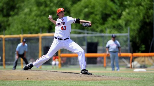 Cavalry pitcher John Holdzkom in action.