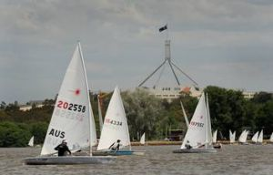 Boats compete in the NSW/ACT laser state championships.