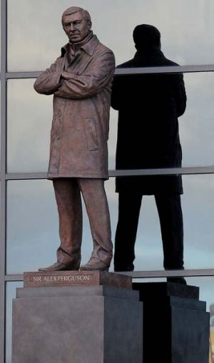 Inanimate ... a statue of Manchester United manager Alex Ferguson unveiled at Old Trafford in Manchester.
