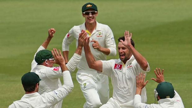 Joy … Ben Hilfenhaus after Graeme Smith's wicket.