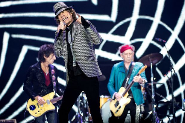 Mick Jagger (centre), flanked by Ronnie Wood and Keith Richards, makes a point.