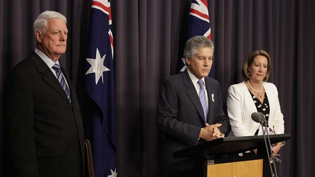 Defence Minister Stephen Smith, with Len Roberts-Smith QC and Elizabeth Broderick, has announced a taskforce to ...