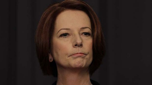 Steely and angry ... Prime Minister Julia Gillard.