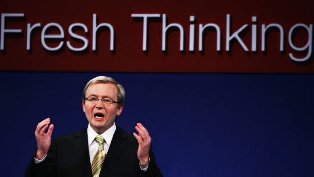Kevin Rudd at the National Conference of the Australian Labor Party in 2007. It is almost five year's since Mr Rudd was ...