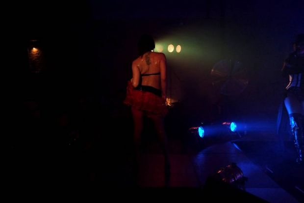 Fever Burlesque performer Cleo on stage during one of her performances.