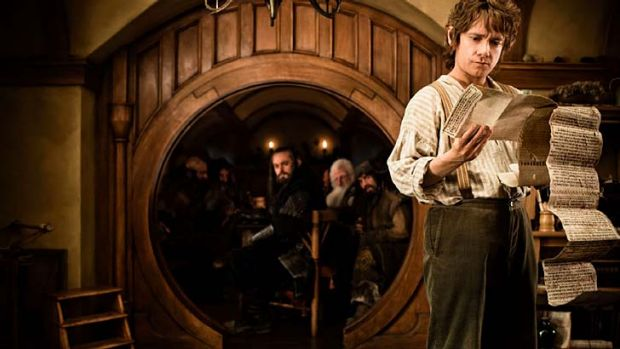 Man on a mission ... Martin Freeman as Bilbo Baggins surveys his quest and readies himself to pursue a fearsome dragon ...