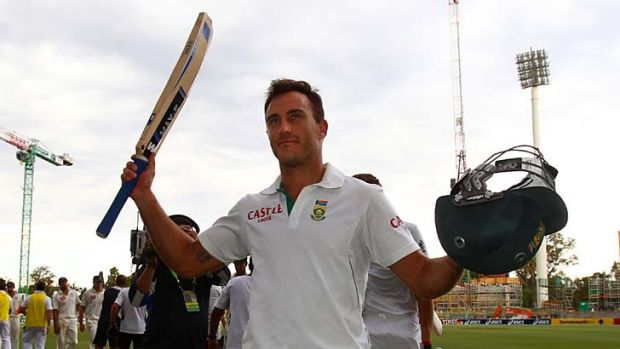 Worthy of a salute … Faf du Plessis batted the entire final day, enduring physical and mental toil to ensure South ...
