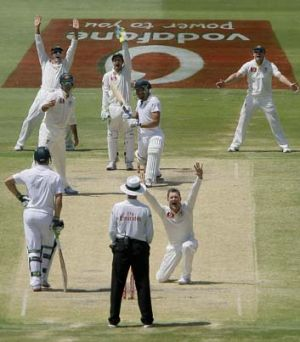 Wishful thinking ... Michael Clarke and the Australian team appeal for a LBW decision on South Africa's Faf du Plessis.