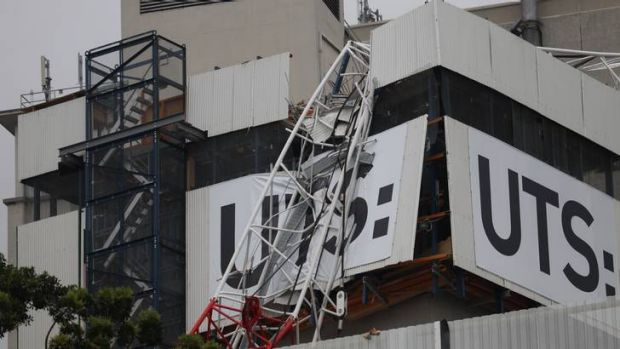The crane fire and collapse in Ultimo on Tuesday.
