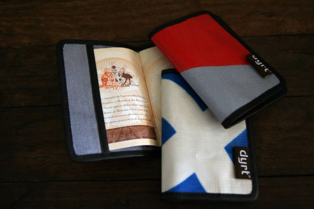 Passport holder made from recycled advertising banners from iranthewrongway.com.