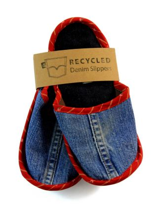 Recycled denim slippers from hostilebacon.com.au.