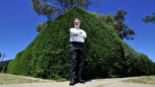 Leon Arundell of the North Canberra Community Council is forced to walk on the grass due to the over grown hedge that ...