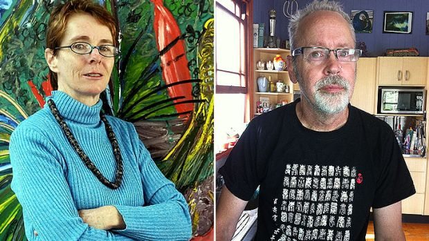 Archibald Prize winning artist Davida Allen, left, has taken her intellectually disabled brother to classes taught by ...