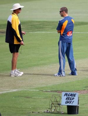 """""""This one certainly won't be as green"""" ... WACA curator Cameron Sutherland, left on the WACA pitch."""