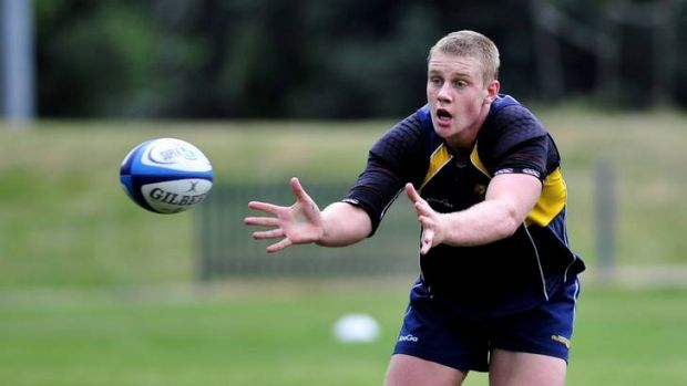 Australian Schoolboys player Tom Staniforth training with the Brumbies on Tuesday.