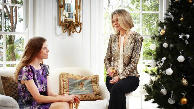 Fashionable Christmas … Carla Zampatti (at left) and her daughter Bianca Spender in the family reading room, where the ...