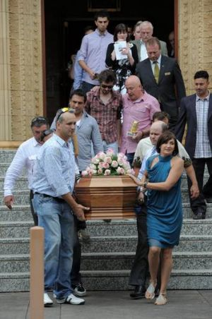 The funeral of Rikki Colosimo at St Christopher's Cathedral, Manuka. Rikki's brother, Ben Colosimo, left and his sister ...