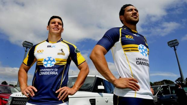 Matt Toomua and Christian Lealiifano model the Brumbies' 2013 playing kit.