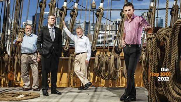 From left to right: Robert Brown, Paul Howes, Robert Borsak, Nic Lochner. Photographed on board the James Craig, built ...