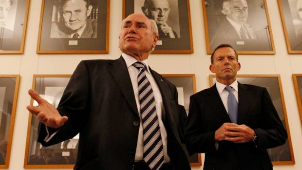 Former Prime Minister John Howard and Opposition Leader Tony Abbott in the Party Room at Parliament House. Many of Mr ...