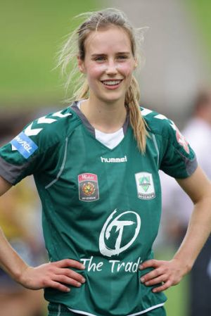 Ellyse Perry pictured playing for Canberra United.