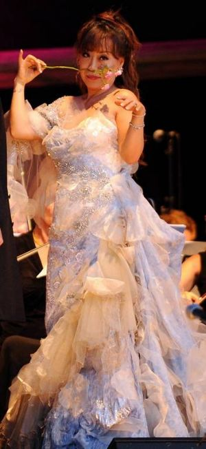 Award winning South Korean soprano Sumi Jo performs at the Voices of the Forest concert at the National Arboretum, Canberra.