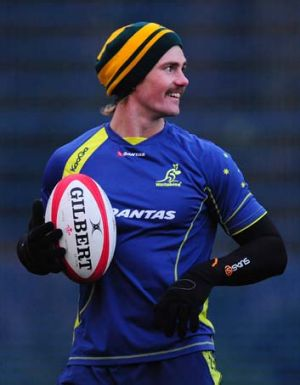 Milestone ... Berrick Barnes trains at Cardiff this week. The Wallabies utility back will bring up his 50th Test cap ...