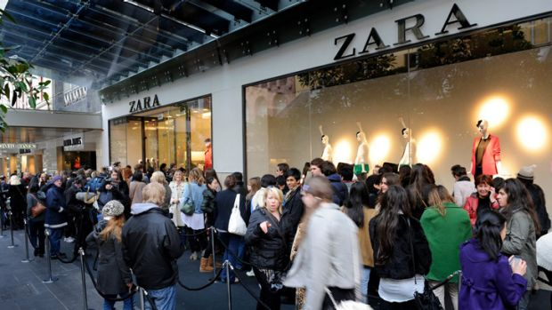 Shoppers queue outside Zara's first Melbourne store.