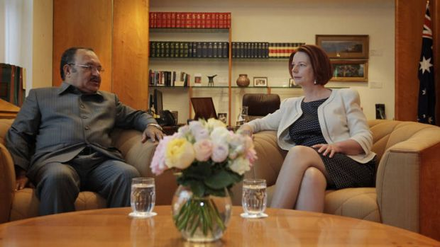 Prime Minister Julia Gillard met with PNG Prime Minister Peter O'Neill at Parliament House in Canberra on Wednesday.