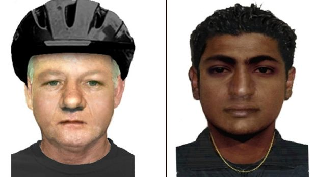 Police have released photo-fit images of a middle-aged flasher, left,  who struck in Malvern East, and a man who ...