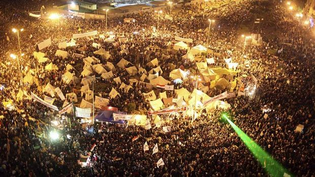 Tens of thousands of anti-Morsi protesters gather in Tahrir Square in Cairo.