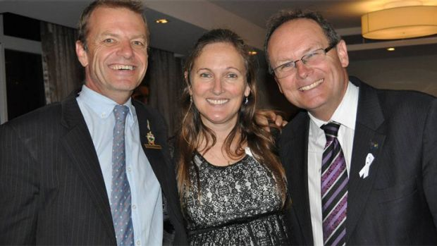 Judy Cate, mother of murdered teen Jessie, with Mandurah councillor Dave Schumacher and Mandurah MLA David Templeman.
