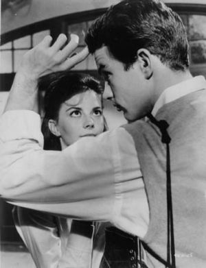 Natalie Wood and James Dean in a scene from Rebel Without a Cause.