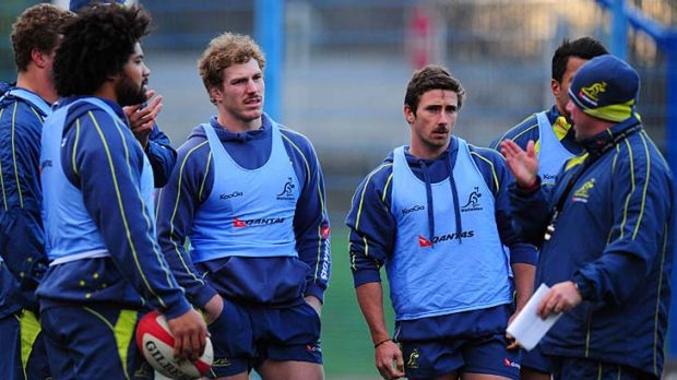 David Pocock (second left) and new arrival Brendan McKibbin (second right) during a training session in Cardiff.
