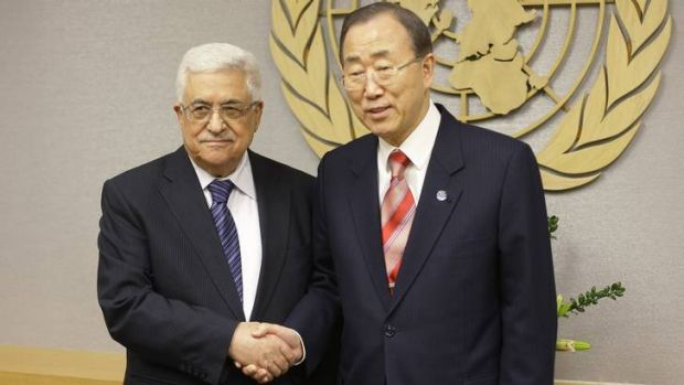 Upgrade likely … the President of the Palestinian Authority, Mahmoud Abbas, and the UN Secretary-General, Ban ...