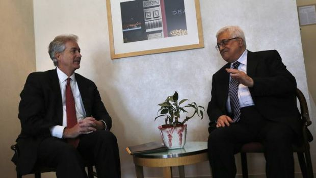 Last-minute plea ... Palestinian President Mahmoud Abbas, right, meets with US Deputy Secretary of State William Burns