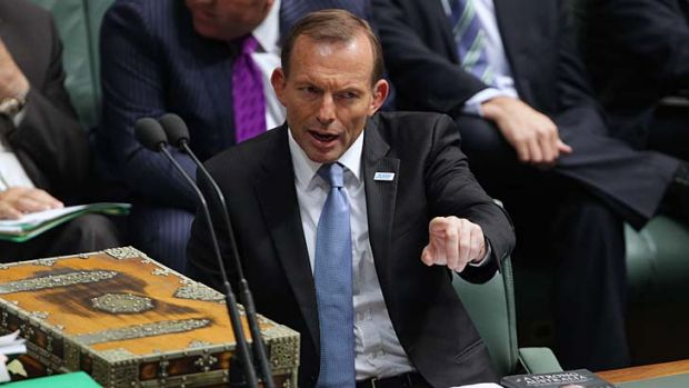 Pointing the finger, but at what? Tony Abbott accuses Prime Minister Julia Gillard of 'conduct unbecoming'.