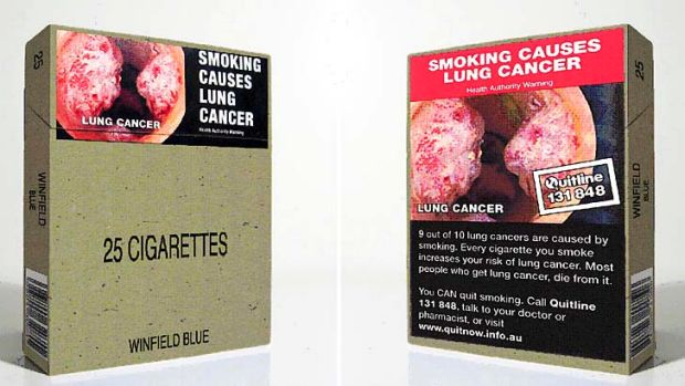 Examples of plain packaging in Australia.