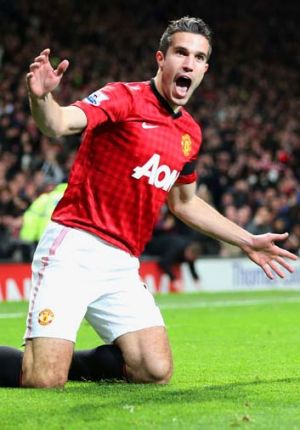 Fast … Robin van Persie of Manchester United.