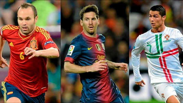 The three nominees ... Barcelona's midfielder Spanish Andres Iniesta (L), Barcelona's Argentinian forward Lionel Messi ...