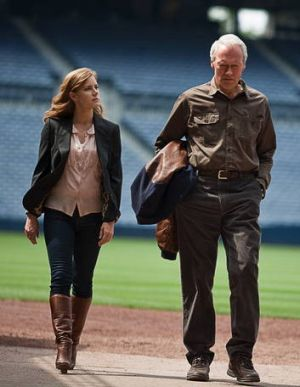 Mickey (Amy Adams) and Gus (Clint Eastwood) share a passion for baseball in <i>Trouble with the Curve</i>.