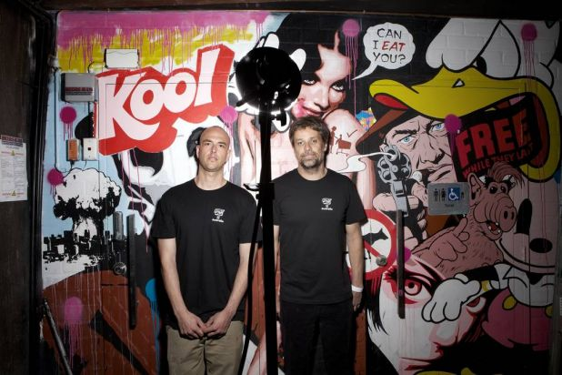 Artiists George Hambov and  Ben Brown compete at Secret Walls, the worlds premiere live art battle which took place in ...