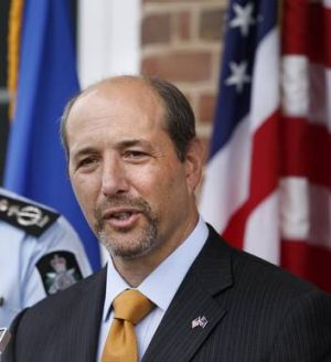 In the spirit ... United States Ambassador Jeffrey Bleich with the new, but temporary look.