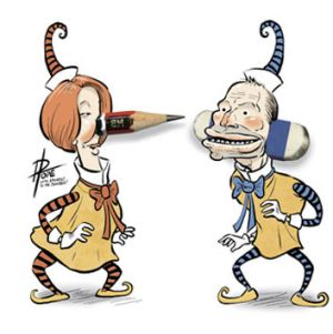 Julia Gillard and Tony Abbott, as seen by David Pope.